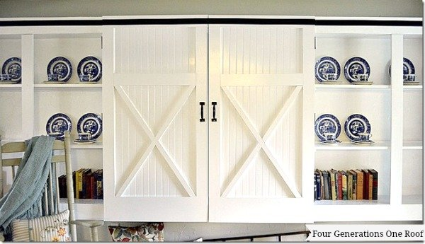 DIY barn closet doors front view