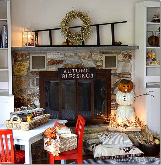 Fall Mantle and the snowman pumpkin