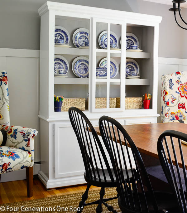 White painted dining room hutch {makeover} - Four Generations One Roof
