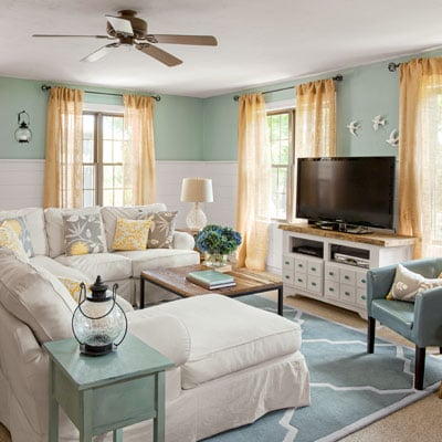 Coastal Cottage family room {before & after} | Four Generations