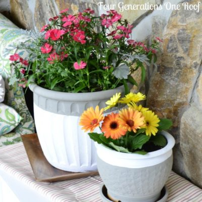 Painted pottery planters