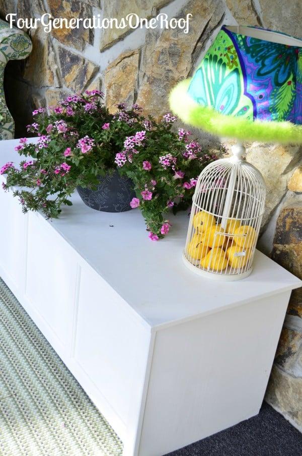 spring, foyer, peacock lamp shade