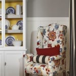 reupholstered wingback chair with bright pattern