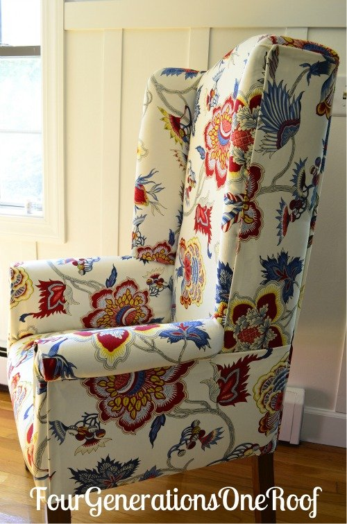 DIY, reupholster, Samoen plantation fabric