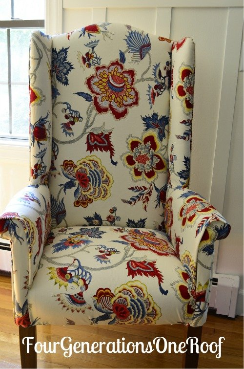 DIY reupholster Samoen plantation fabric IMAN & DIY reupholstered wingback chair before u0026 after - Four Generations ...