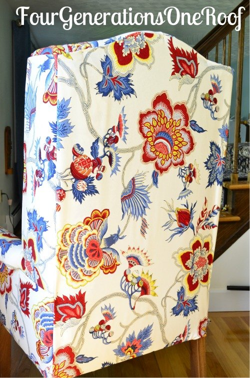 diy reupholstered wingback chair before after four generations