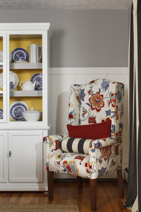 bright patterned reupholstered wingback chair
