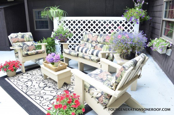 patio with lattice screen adirondack chairs and RESTORE concrete over old cement