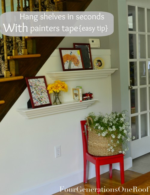 how to hang shelves painter's tape
