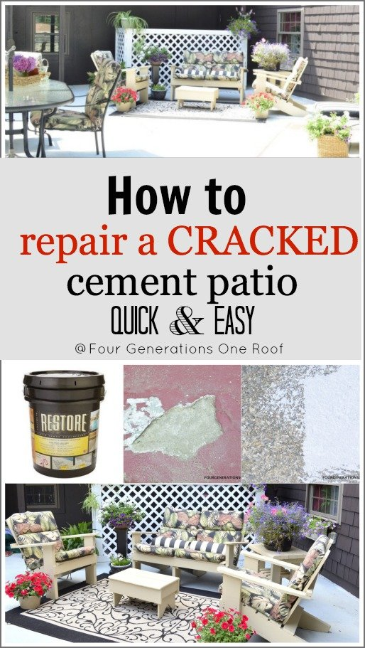 how to repair a cracked cement patio