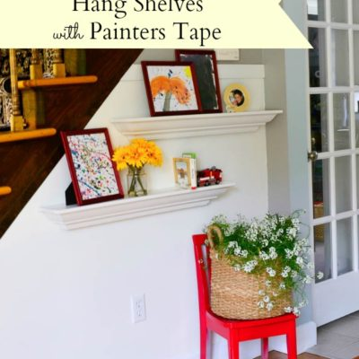 How to hang shelves using painters tape {tutorial}