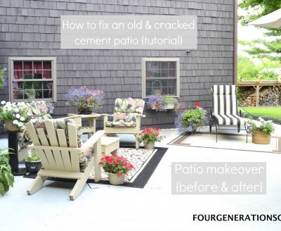 How to repair a cracked & old cement patio {before & after}