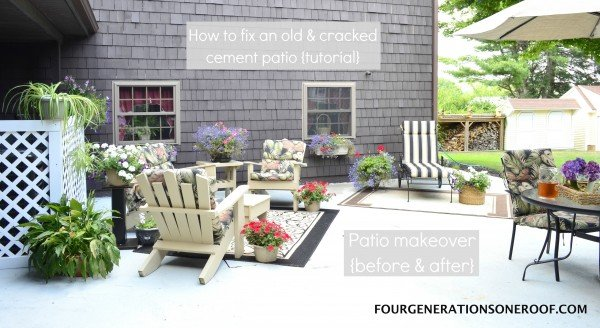 How to repair a cracked & old cement patio {before & after} - Four ...