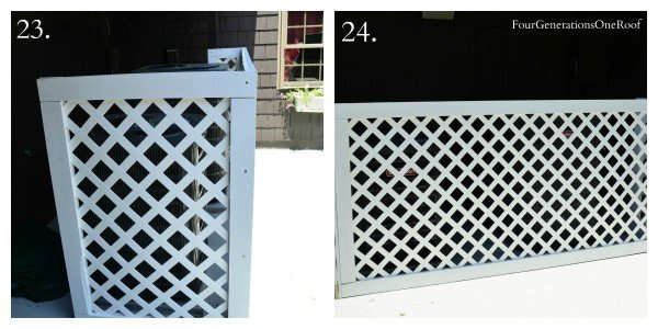 corner piece of white vinyl privacy fence on patio with AC units