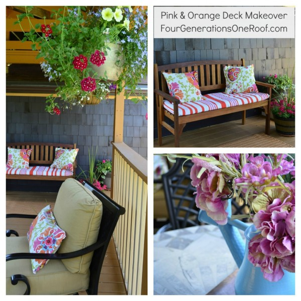 Deck Makeover: Montage of a stained deck with a pink and orange decor
