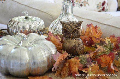 Fall Mantel with mercury pumpkins and owl