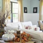 Fall Mantel with mercury pumpkins