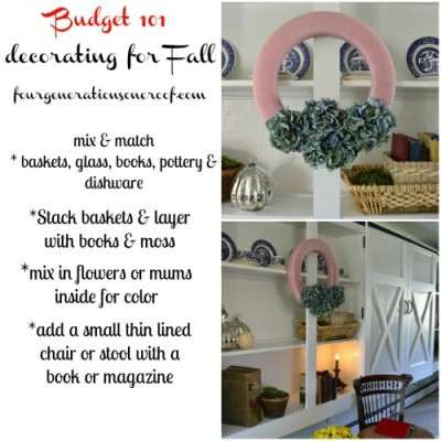 Fall budget decorating tips & pink and blue hydrangea wreath
