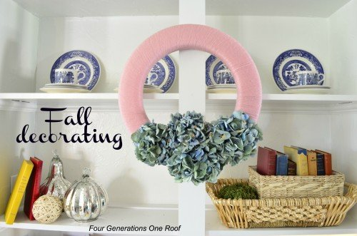 Fall decorating pink and blue hydrangea wreath