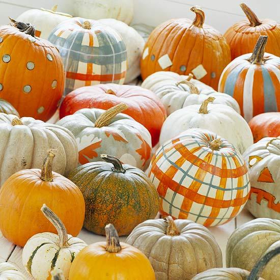 plaid painted pumpkins