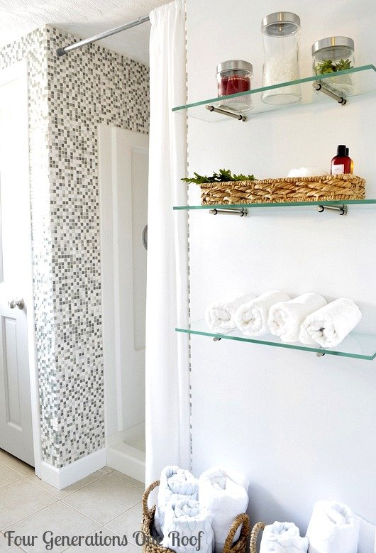 Awesome DIY budget bathroom renovation glass shelving