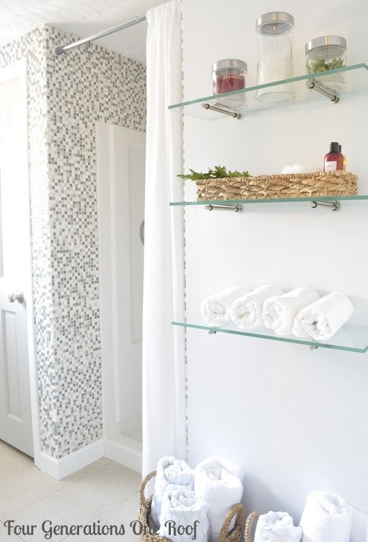 DIY budget bathroom renovation shelving