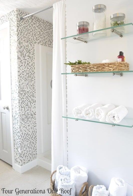 DIY budget bathroom renovation shelving