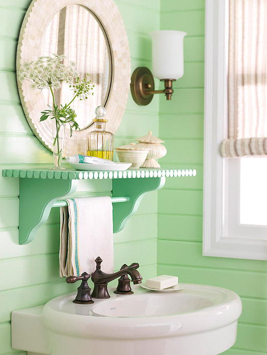 Decorative bathroom shelf with mirror