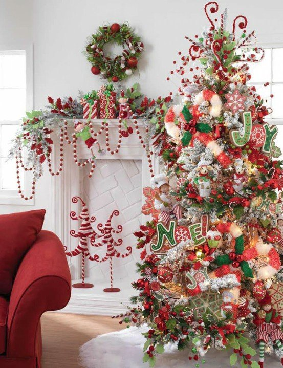 Whimsical tree with candy canes