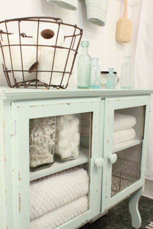 Wire basket storage and glass door storage