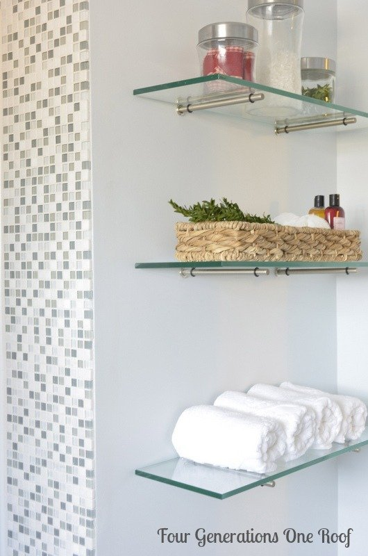 Epic diy bathroom renovation glass shelving