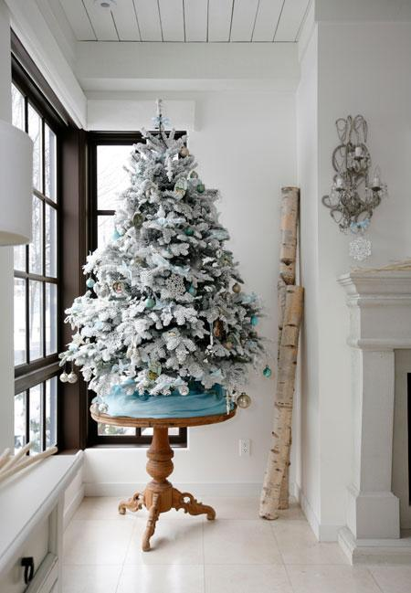 small gorgeous white and pastel blue christmas tree