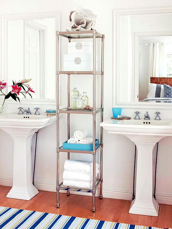 our diy bathroom {creative storage solutions} + aol real estate