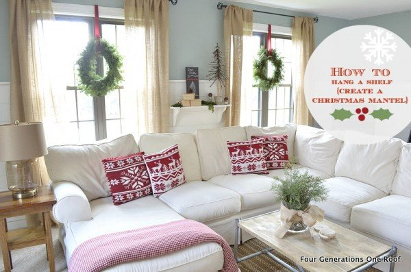 How to hang shelves for a christmas mantel