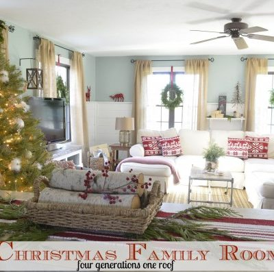 Our gold + silver Christmas tree {decorated family room}