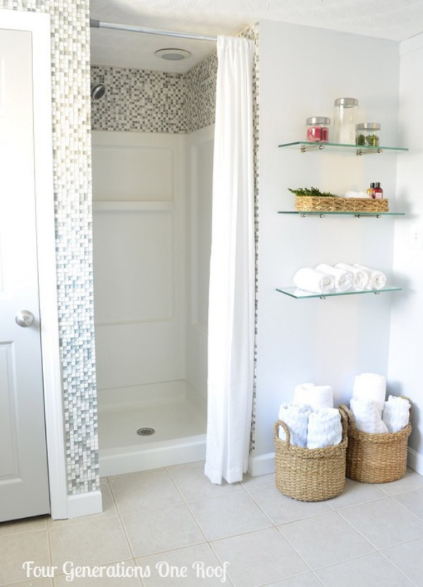 diy bathroom renovation mosaic shower wall