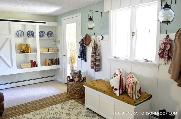 multitasking mudroom with coat hooks