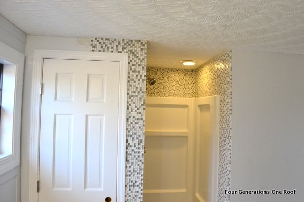 Tiling a bathroom wall with mosaic tilesHow to install mosaic tile  tutorial    Four Generations One Roof. Install Tile Bathroom Shower Wall. Home Design Ideas
