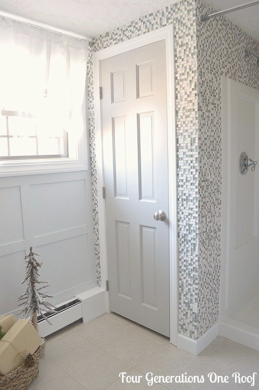 how to tile a bathroom wall around a shower and closet