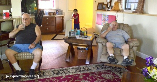 four generations living under one roof watching tv