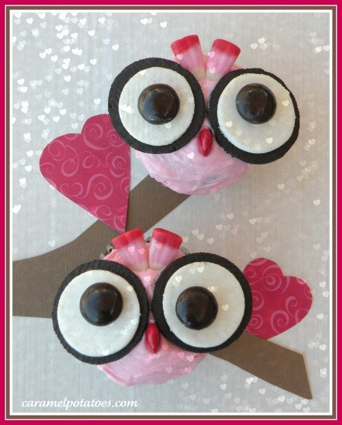 Owl Valentines Cupcake With Oreo Cookie