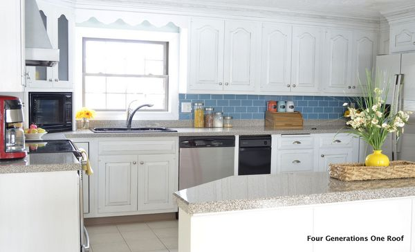 Kitchen Backsplash Blue our modern cottage kitchen {makeover} - four generations one roof