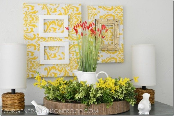 Diy wall art four generations one roof for What kind of paint to use on kitchen cabinets for frame fabric wall art
