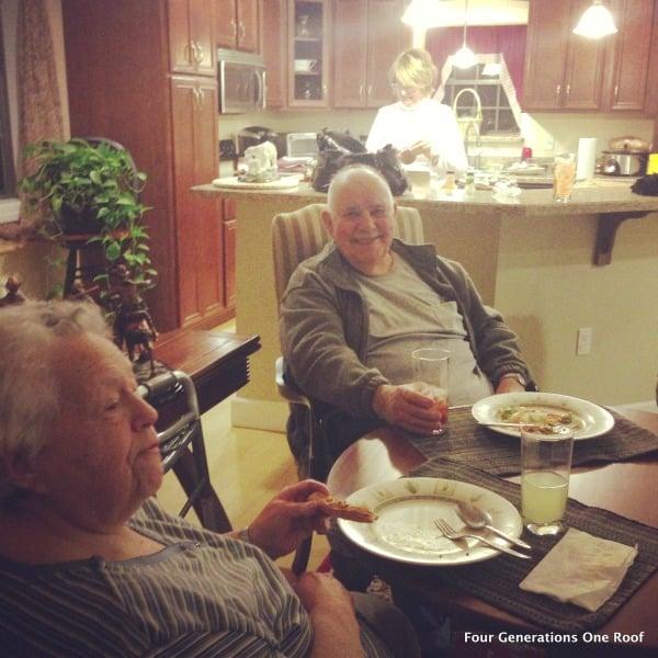 multigenerational family dinner on saturday night