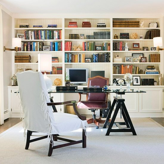 styled bookcase with symetry