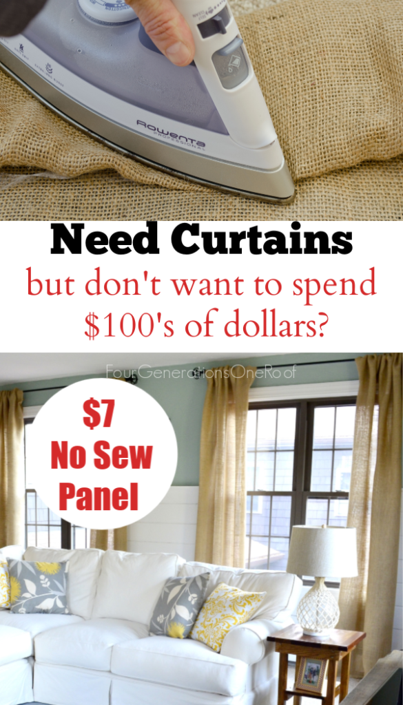 How to make Burlap Curtains DIY Burlap Curtains No Sew Curtains using Stitch Witchery and an Iron.