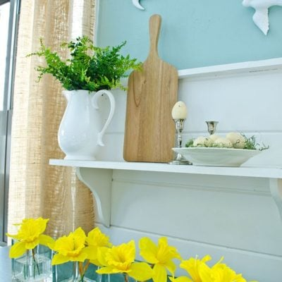 How to decorate a shelf for spring {our spring mantel}