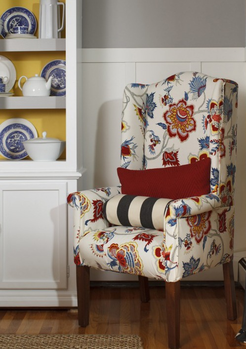 How to reupholster a chair tutorial video Four  : reupholstered wingback chair upclosejpg from www.fourgenerationsoneroof.com size 498 x 707 jpeg 91kB