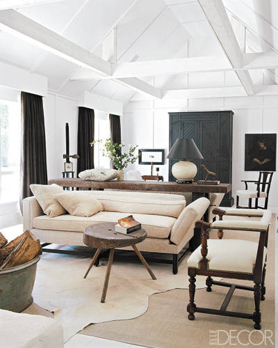 white painted wood beams