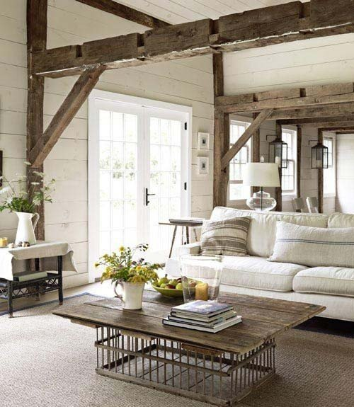 reclaimed lumber wooden beams living room